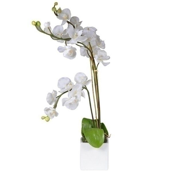 Flor Artificial Decorativa Orquídea Branca - 35 cm