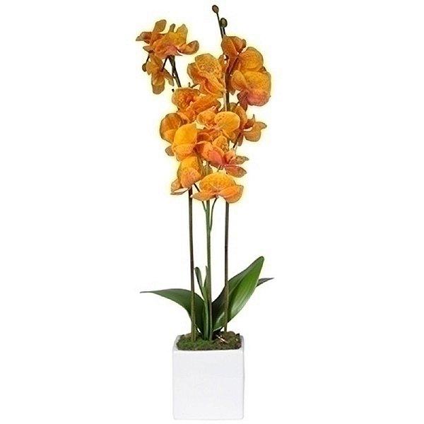 Flor Artificial Decorativa Orquídea Amarela - 35 cm