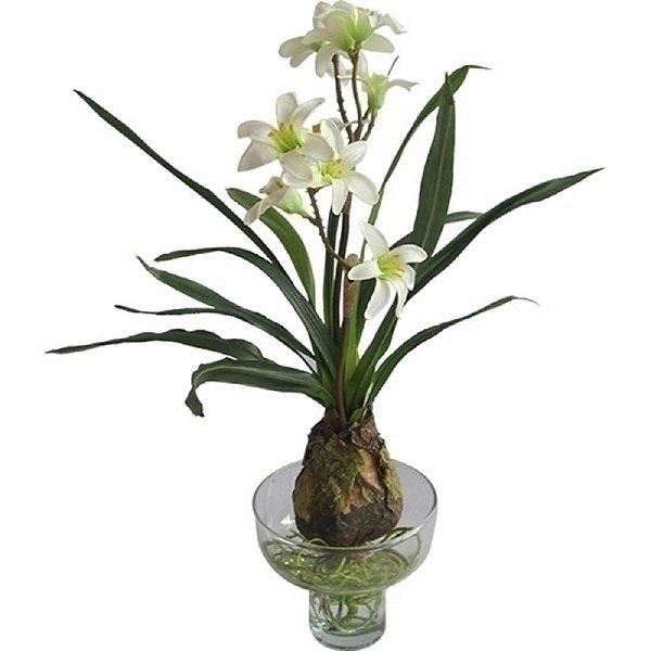 Flor Artificial Decorativa Orquídea Branca com Vaso de Vidro - 31 cm