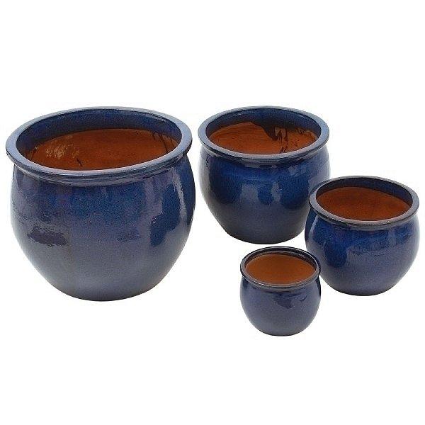 Conjunto de Vasos de Cerâmica Vietnamitas Azul Marinho - 4 Peças