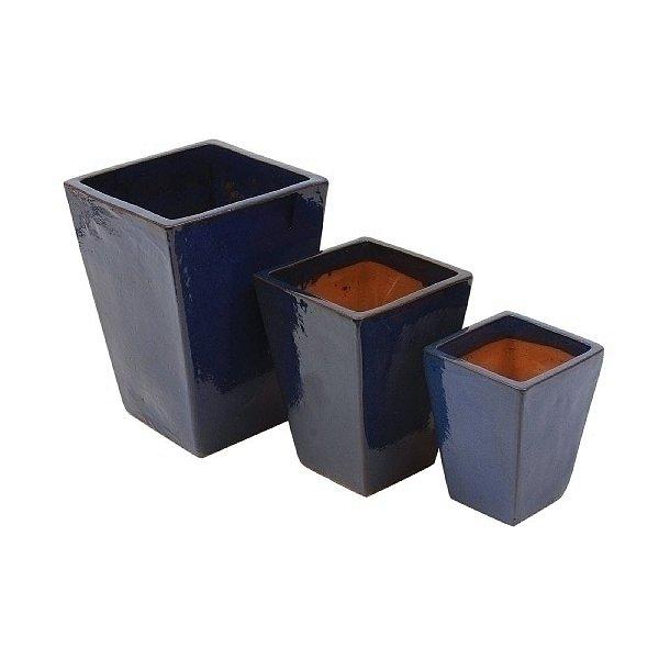 Conjunto de Vasos de Cerâmica Vietnamitas Azul Marinho - 3 Peças