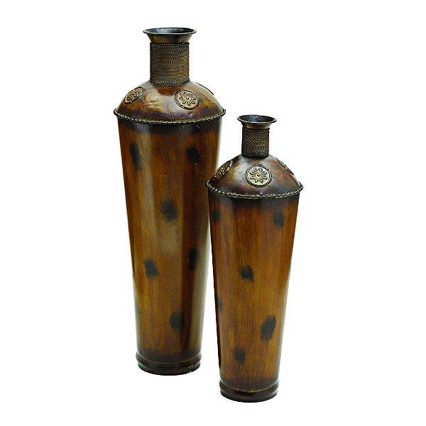 Conjunto de Vasos Decorativos de Ferro com Revestimento em Madeira - 2 Peças