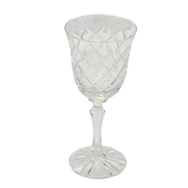 Vaso Decorativo de Cristal formato Taça com Alto Relevo de Losangos - 57 x 18 cm