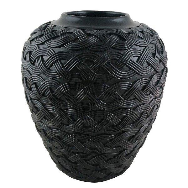Vaso Decorativo Trançado de Resina Preto - 30 x 26 cm