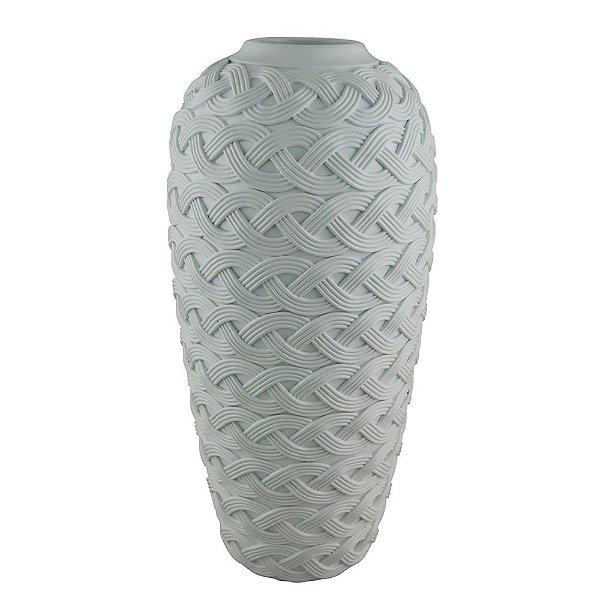 Vaso Decorativo Trançado de Resina Branco - 44 x 21 cm