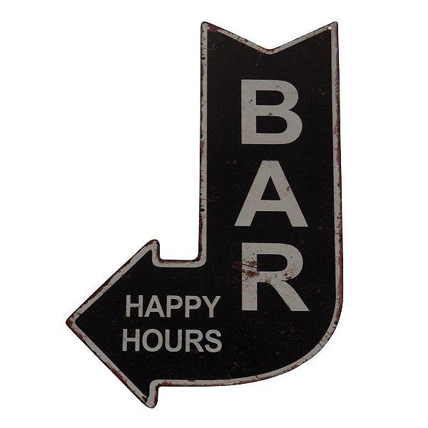 Placa Seta Decorativa de Metal Bar - Happy Hours - 40 x 25 cm