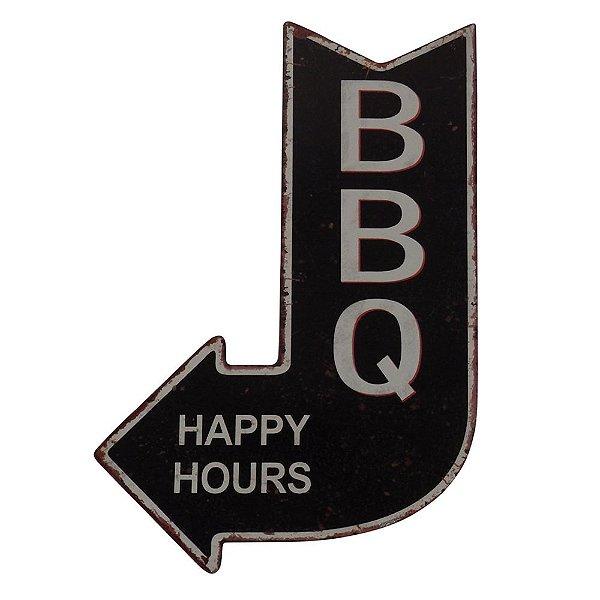 Placa Seta Decorativa de Metal BBQ - Happy Hours - 40 x 25 cm
