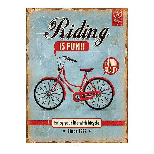 Placa Retangular Decorativa de Metal Riding is Fun -  40 x 30 cm