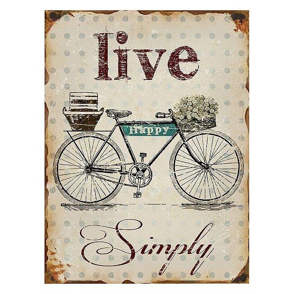 Placa Retangular Decorativa de Metal Live Happy Simply - 40 x 30 cm