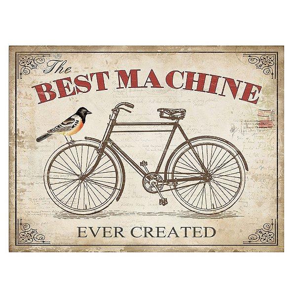 Placa Retangular Decorativa de Metal The Best Machine Ever Created - 30 x 40 cm