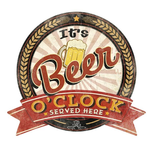 Placa Decorativa de Metal It's Beer O'Clock Served Here -  35 x 39 cm