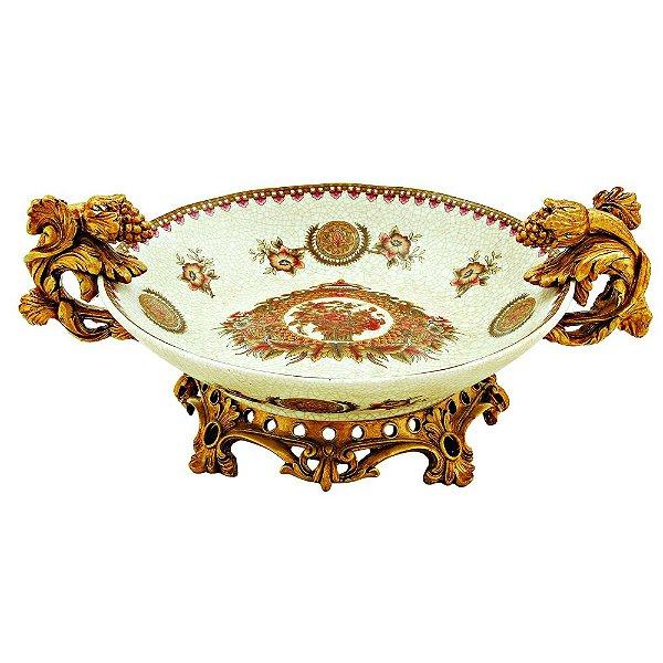 Fruteira Decorativa Cerâmica com Alças e Detalhes em Dourado