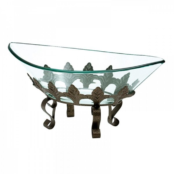 Fruteira Decorativa Oval de Vidro com Base em Metal - 24 x 42 cm