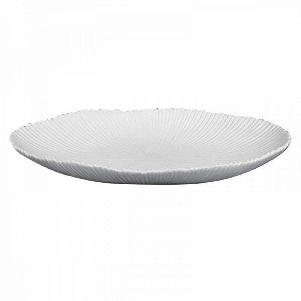 Fruteira Decorativa Oval de Cerâmica Branca - 52 x 30 cm