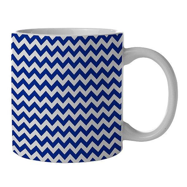 Caneca de Porcelana Branca e Azul New Indigo Point Triangules - 300 ml