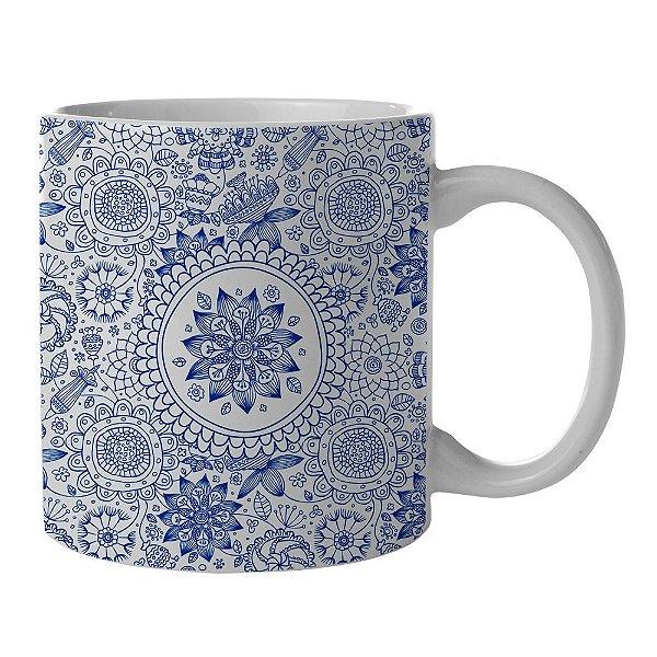 Caneca de Porcelana Branca e Azul New Indigo Henna Flowers - 300 ml
