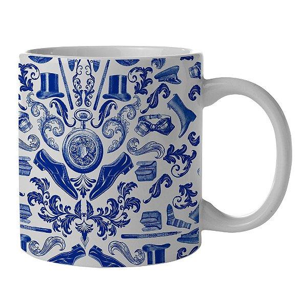 Caneca de Porcelana Branca e Azul New Indigo Acessories - 300 ml