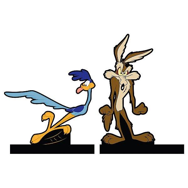 Aparador de Livros em Madeira Looney Tunes Papa-Léguas e Coyote - 2 Peças