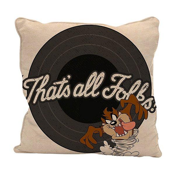 Capa para Almofada em Poliéster Looney Tunes Taz That's All Folks - 45 cm