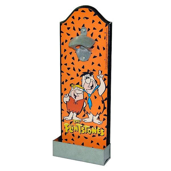Abridor de Garrafas com Suporte para Parede em Madeira HB Os Flintstones Fred e Barney - 36 cm