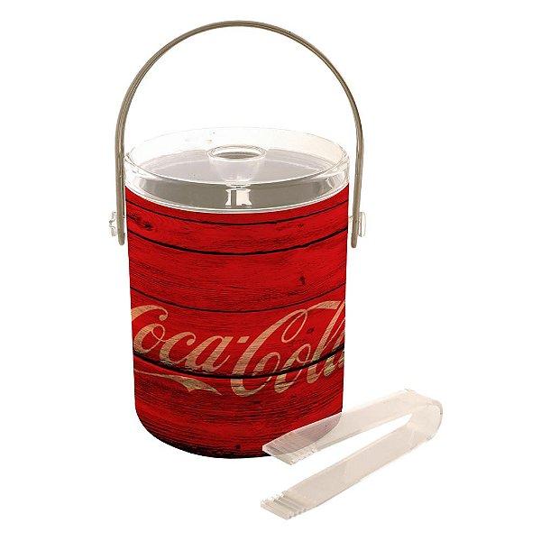 Balde de Gelo com Tampa, Pegador de Plástico e Alça de Couro Sintético Coca-Cola Wood Style - 22 cm