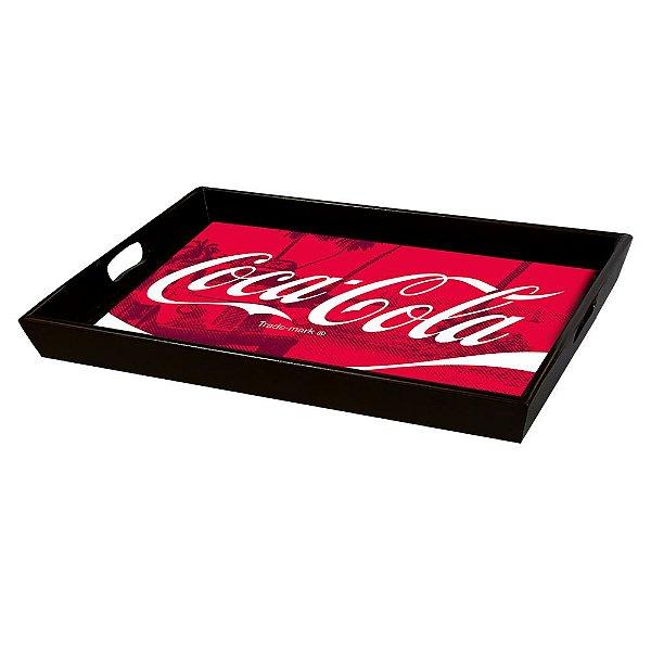 Bandeja Decorativa Retangular de Madeira Coca-Cola Paisagem - 30 x 46 cm