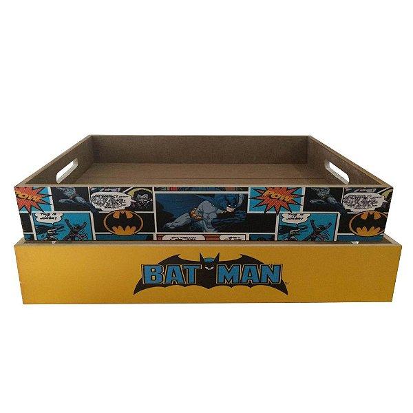 Conjunto de Bandejas Decorativas Retangulares de Madeira DC Comics Batman - 2 Peças