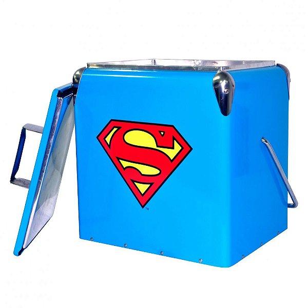 Cooler de Metal com Alça DC Comics Superman Logo Azul / Amarelo / Vermelho