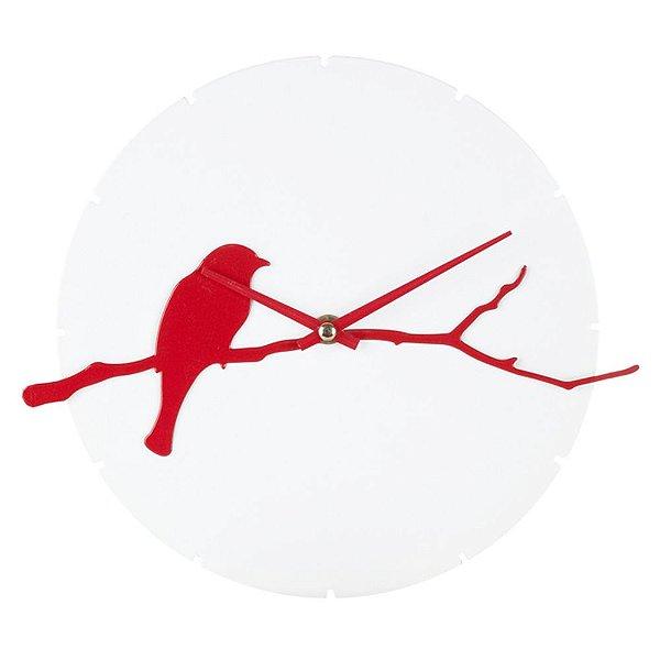 Relógio de Parede Decorativo de Ferro Pássaro no Galho Branco / Vermelho - 28 cm
