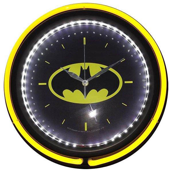 Relógio de Parede Decorativo de Plástico e Vidro Iluminado DC Comics Batman Logo - 38 cm
