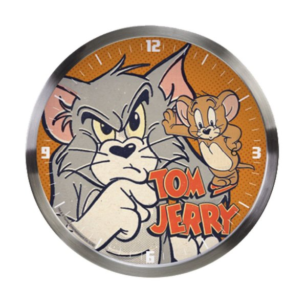 Relógio de Parede Decorativo de Metal Hanna Barbera Tom and Jerry - 30 cm