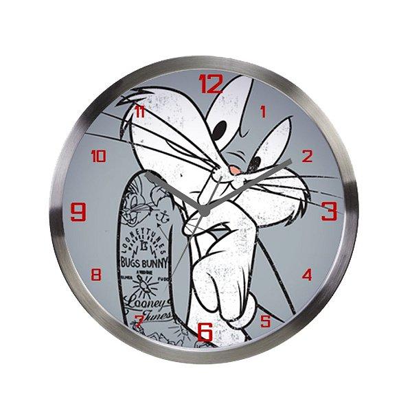 Relógio de Parede Decorativo de Metal Looney Tunes Pernalonga - 30 cm