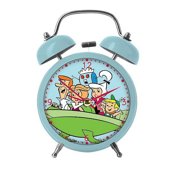 Relógio Decorativo Despertador de Metal Hanna Barbera Os Jetsons Passeio em Família - 17 cm
