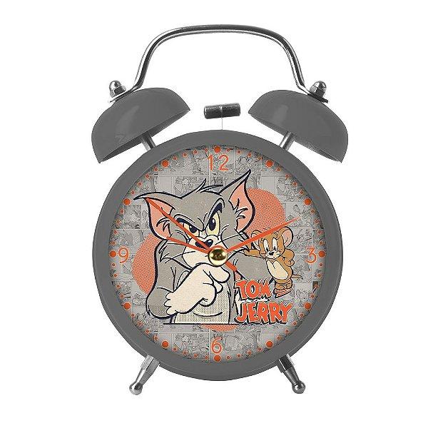 Relógio Decorativo Despertador de Metal Hanna Barbera Tom and Jerry - 17 cm