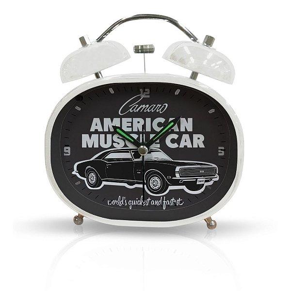 Relógio Decorativo Despertador de Metal GM Vintage American Muscle Car - 10 x 12 cm