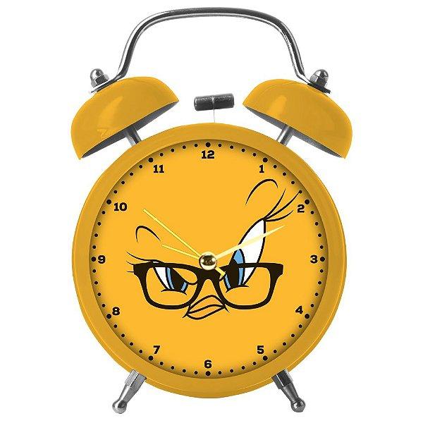 Relógio Decorativo Despertador de Metal Looney Tunes Piu-Piu - 17 cm