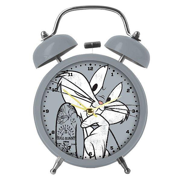 Relógio Decorativo Despertador de Metal Looney Tunes Pernalonga - 17 cm