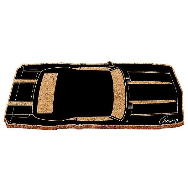 Capacho Decorativo de Fibra de Coco GM Vintage Black Camaro - 30 x 70 cm