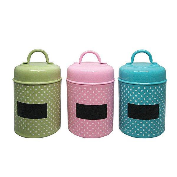Conjunto de Potes em Metal com Alças nas Tampas e Etiquetas de Identificação Coloridos - 3 Peças