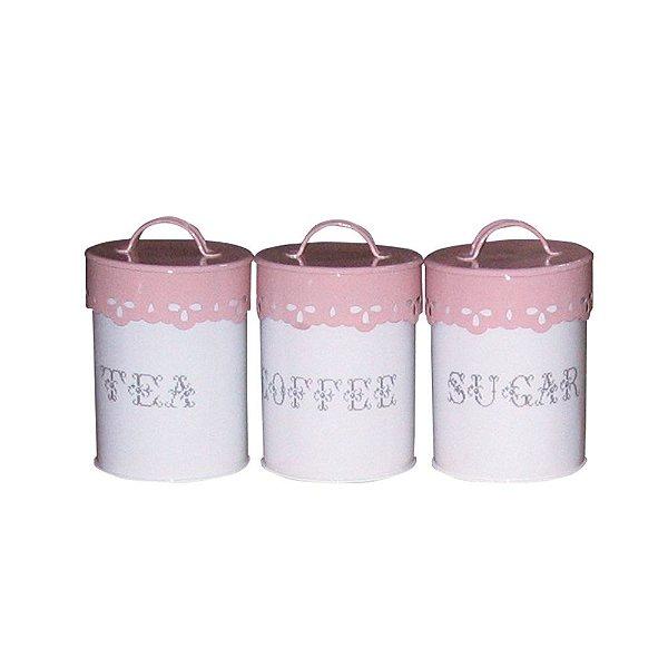 Conjunto de Potes em Metal com Alça na Tampa Delicate Lace Cover Rosa / Branco - 3 Peças