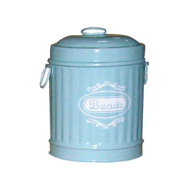Pote em Metal formato Lixeira com Tampa e Alças Laterais Biscuits Azul / Branco - 16 cm