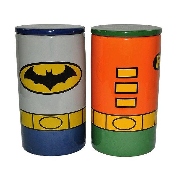 Conjunto de Potes de Cerâmica com Tampas DC Comics Batman and Robin - 2 Peças