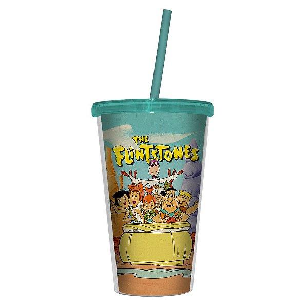 Copo de Plástico com Tampa e Canudo Hanna Barbera Os Flintstones Passeio em Família - 500 ml