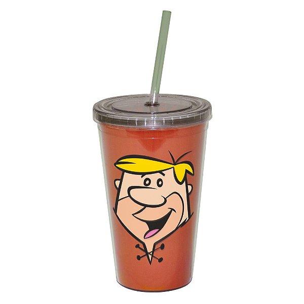 Copo de Plástico com Tampa e Canudo Hanna Barbera Os Flintstones Barney - 500 ml