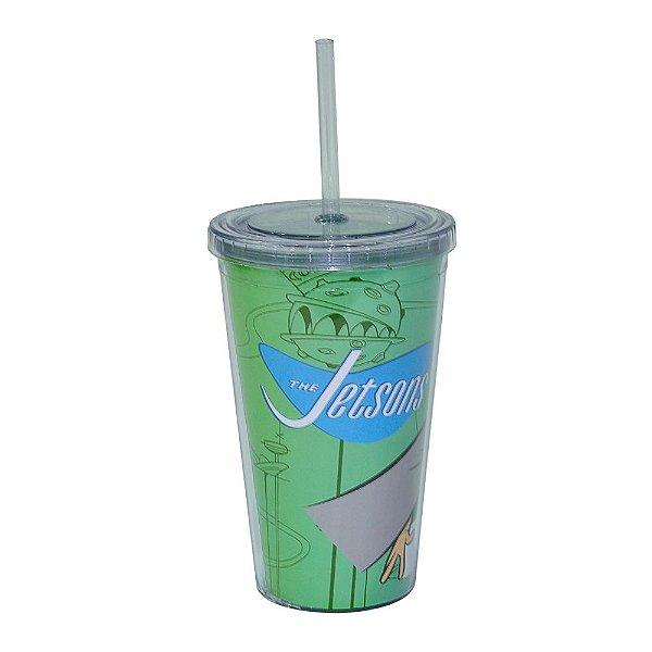 Copo de Plástico com Tampa e Canudo Hanna Barbera Os Jetsons Astro e George - 500 ml