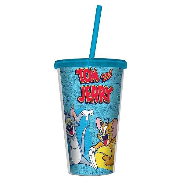 Copo de Plástico com Tampa e Canudo Hanna Barbera Tom and Jerry - 500 ml