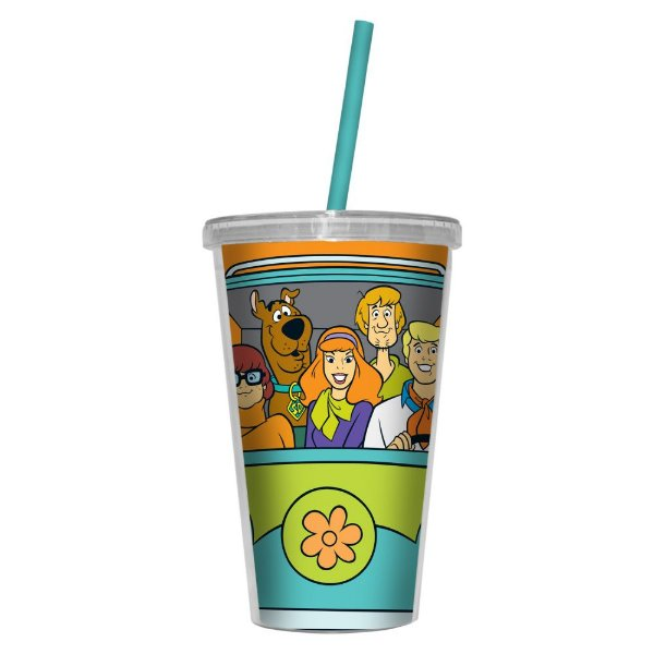 Copo de Plástico com Tampa e Canudo HB Scooby-Doo Everybody in the Mystery Machine - 500 ml