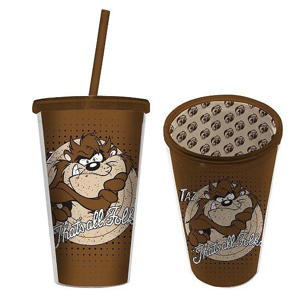 Copo de Plástico com Tampa e Canudo Looney Tunes Taz That's All Folks - 500 ml