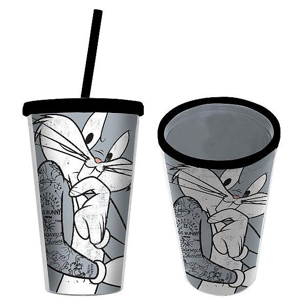 Copo de Plástico com Tampa e Canudo Looney Tunes Pernalonga - 500 ml