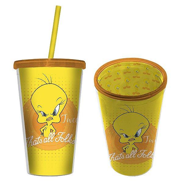 Copo de Plástico com Tampa e Canudo Looney Tunes Piu-Piu That's All Folks - 500 ml